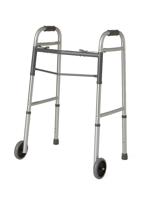 "Two-Button Folding Walker with 5"" Wheels - Medical Supply Surplus"