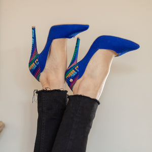 Mexican Embroidered Pumps Royal Blue 2
