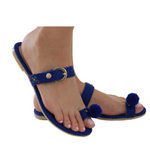 Mexican Toe Sandals Blue Embroidered 1