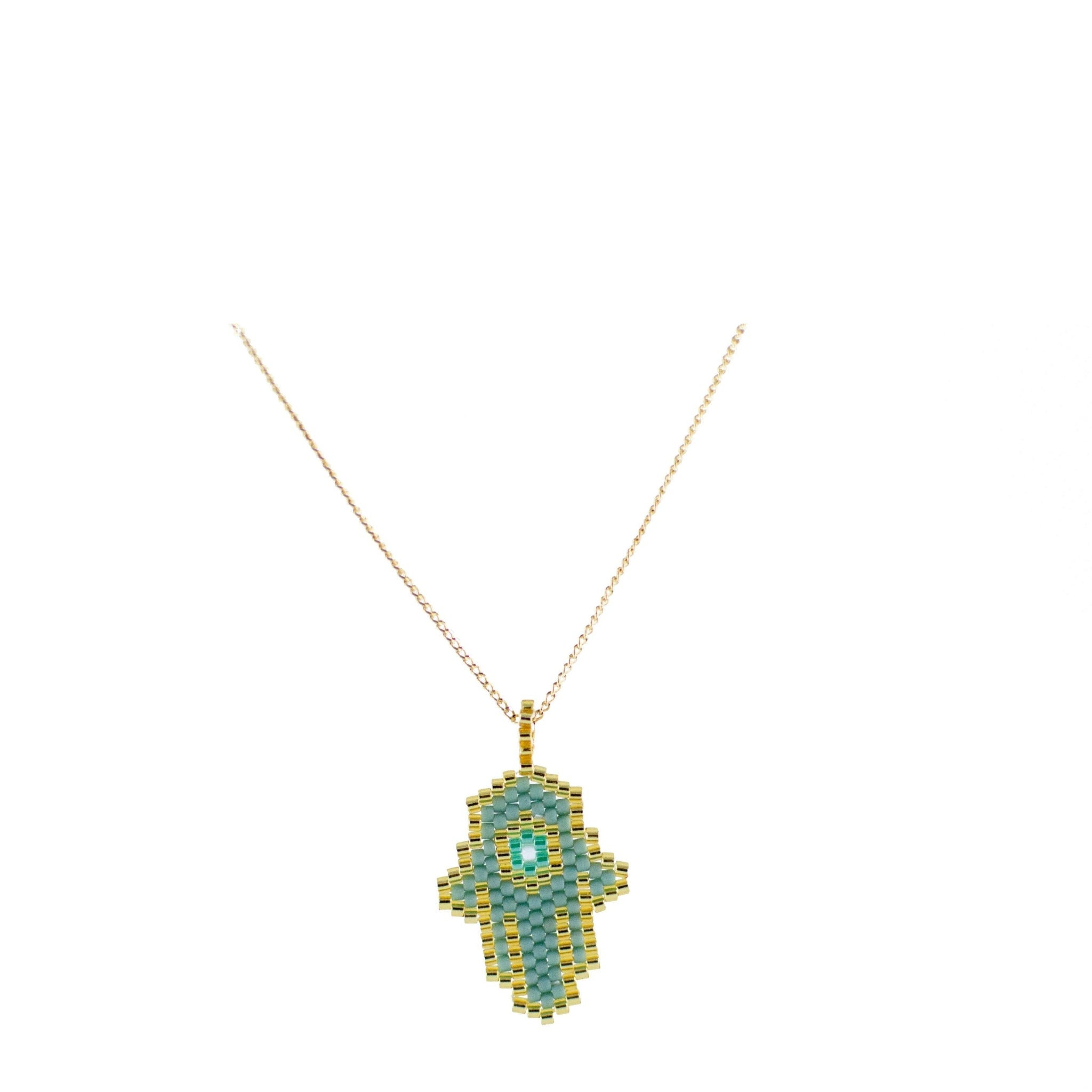 Hamsa Hand Necklace with Gold Plated Chain 1