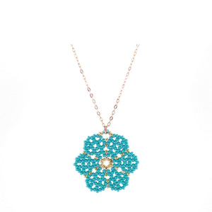 Huichol Flower Blue with Gold Plated Chain 1