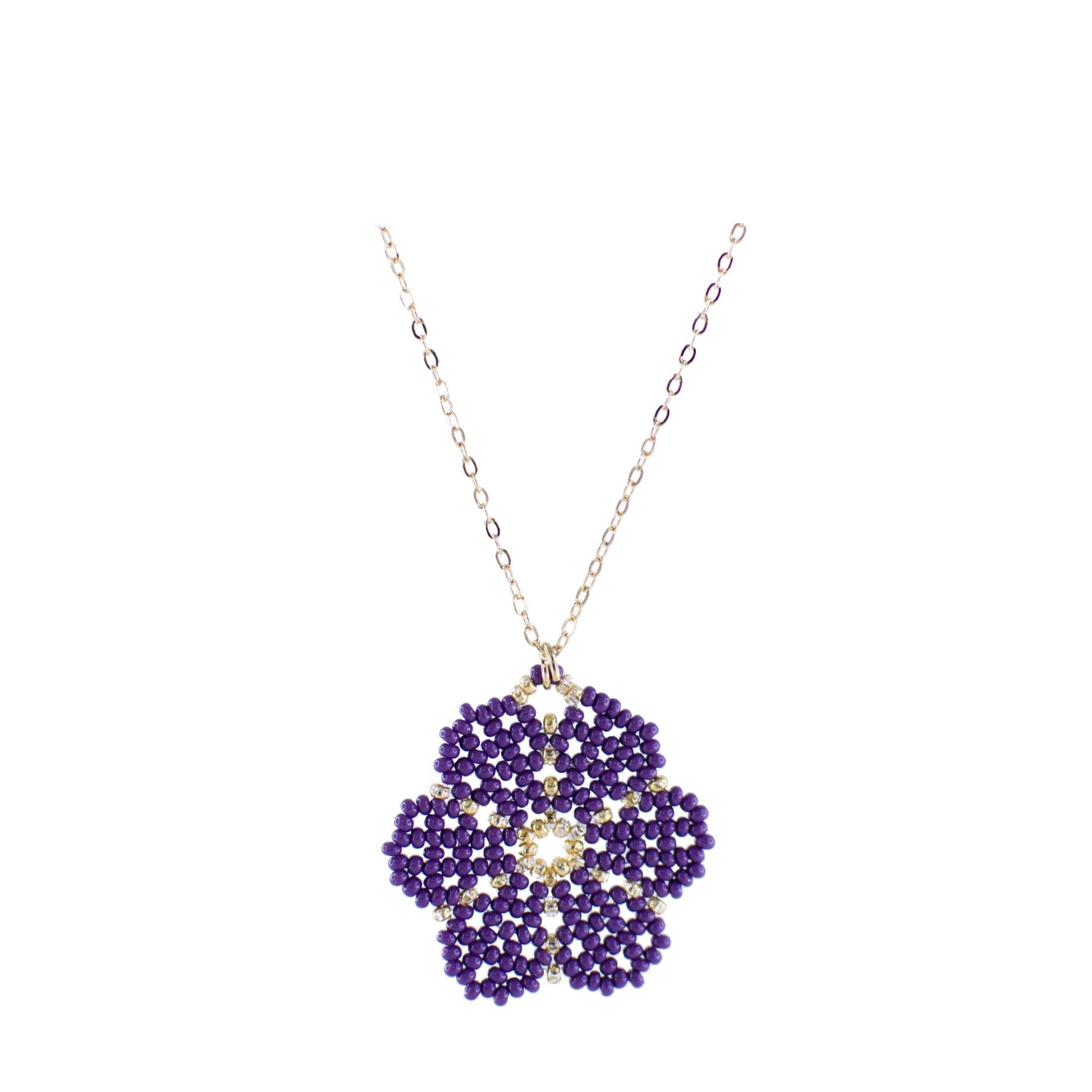Huichol Flower Lavander with Gold Plated Chain 1
