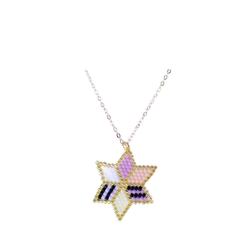 Huichol Star Necklace with Gold Plated Chain 1