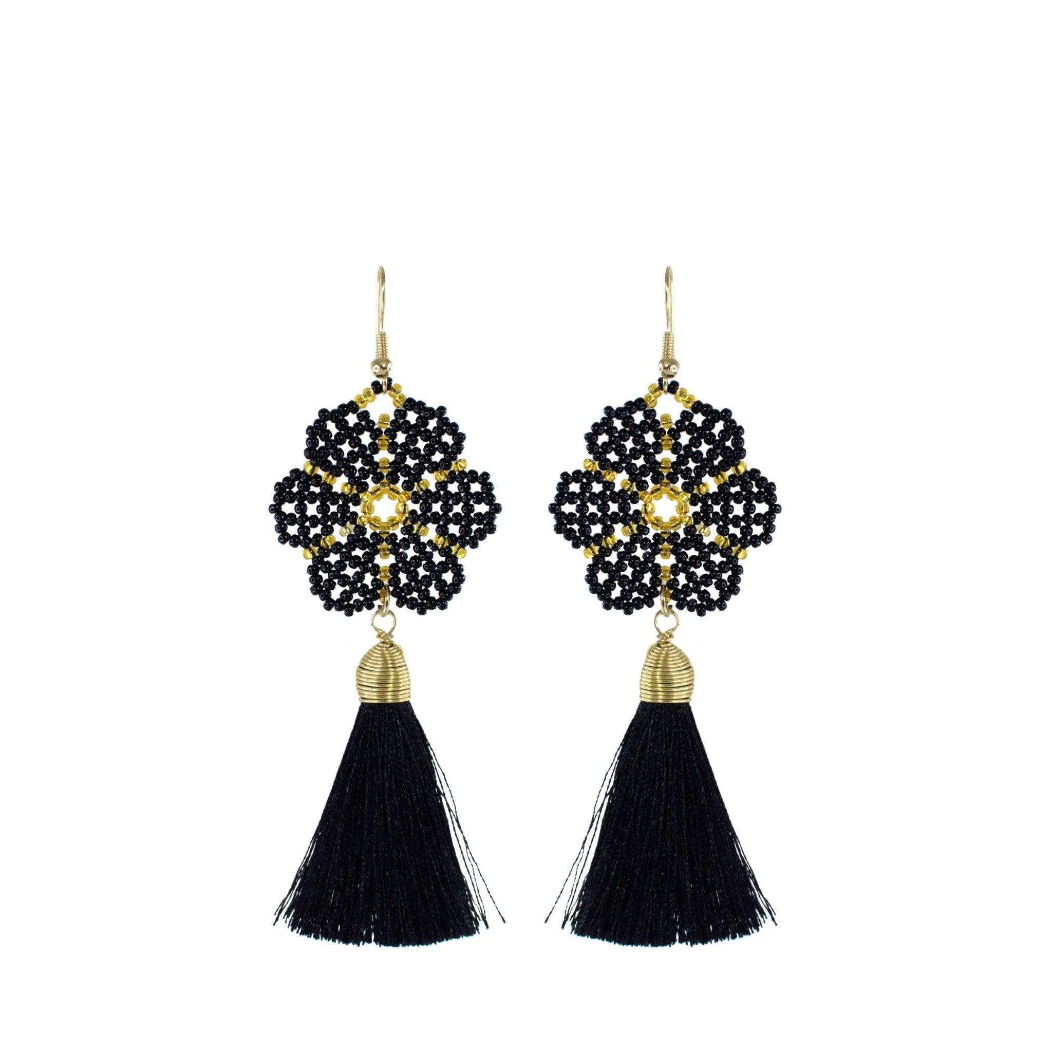 Huichol and Silk Earrings Black 1