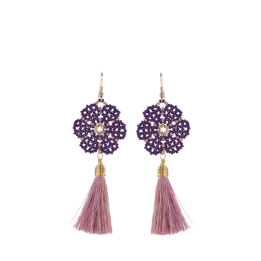 Huichol and Silk Earrings Lavender 1