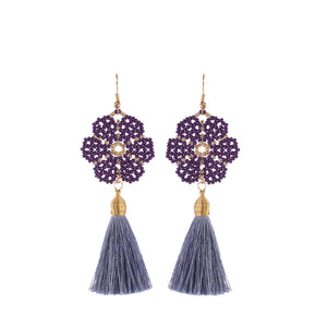 Huichol and Silk Earrings Purple and Gray 1