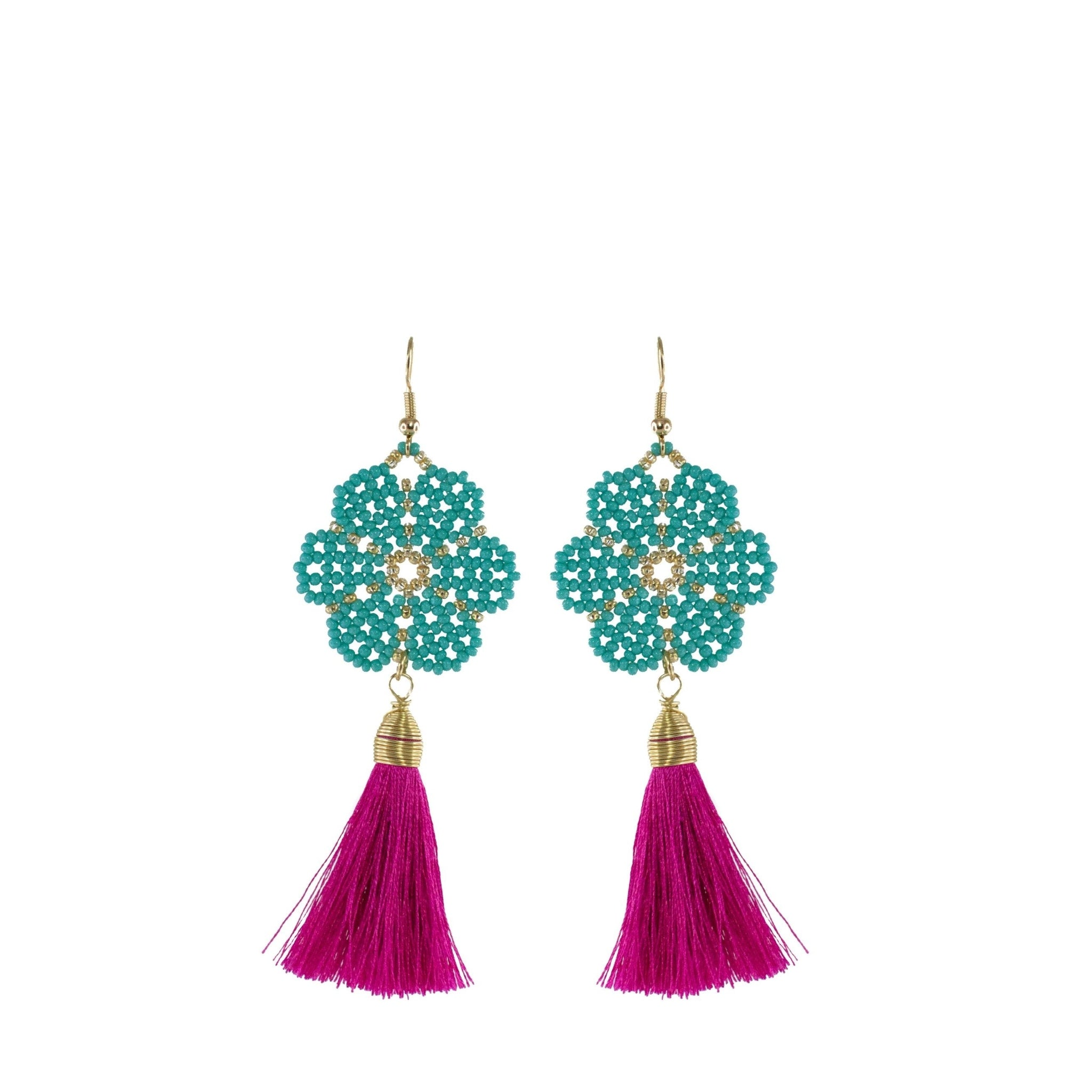 Huichol and Silk Earrings Teal and Hot Pink 1