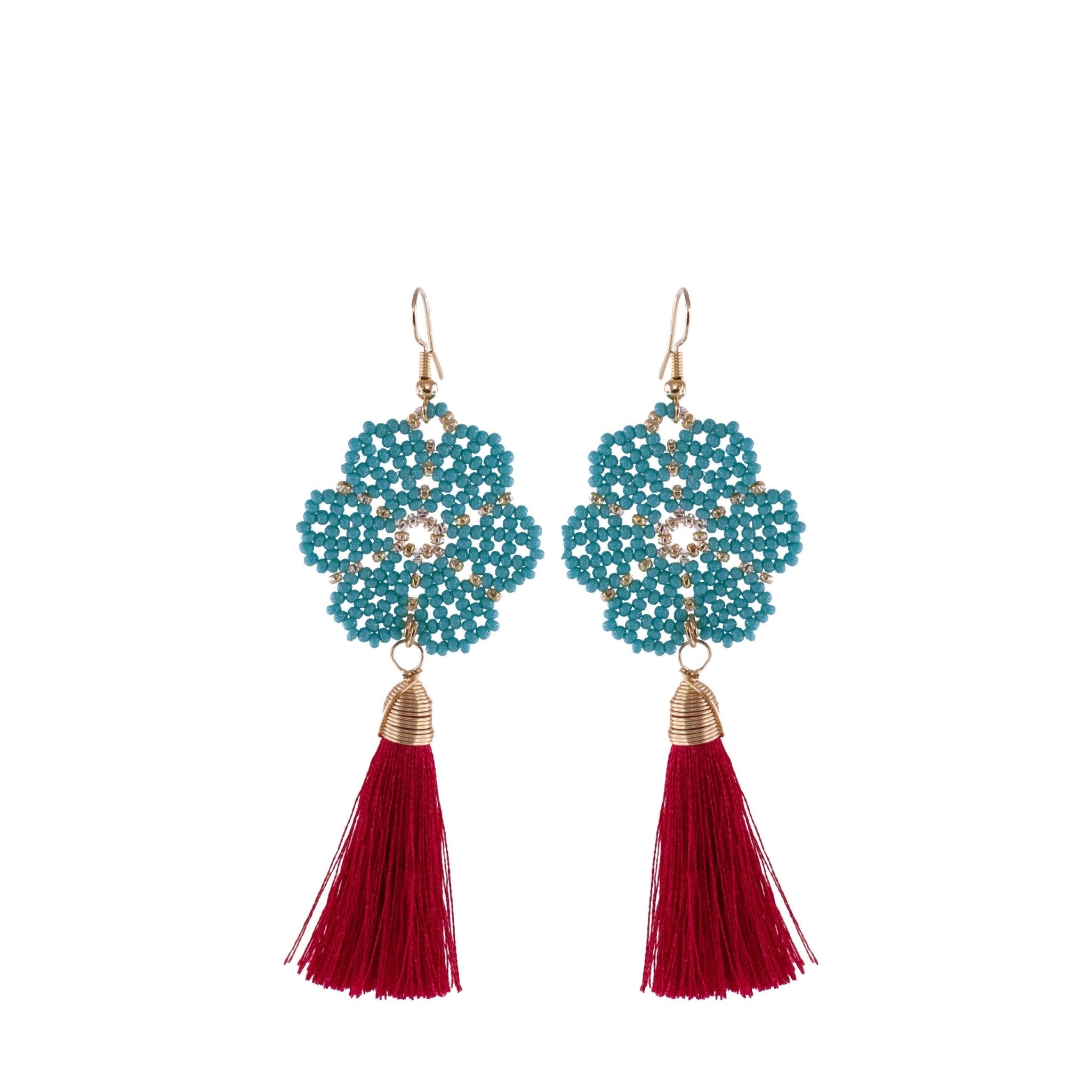Huichol and Silk Earrings Teal and Red