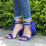 Mexican Block Heels Embroidered Blue