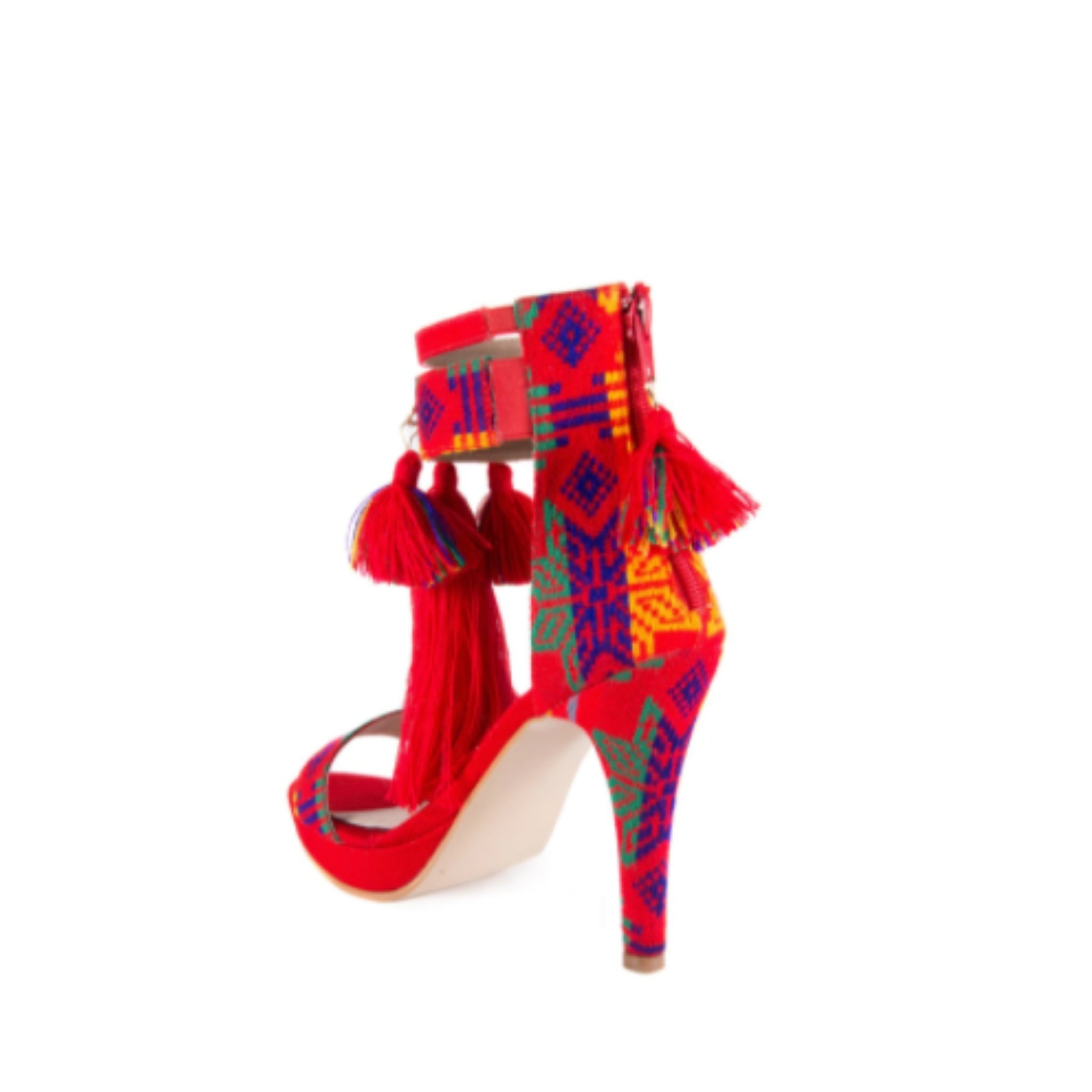 Mexican Heels with Platform Red Embroidered 1