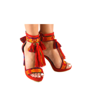 Mexican Heels with Platform Red Embroidered 2