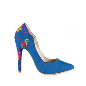 Mexican Embroidered Pumps Ocean Blue 1