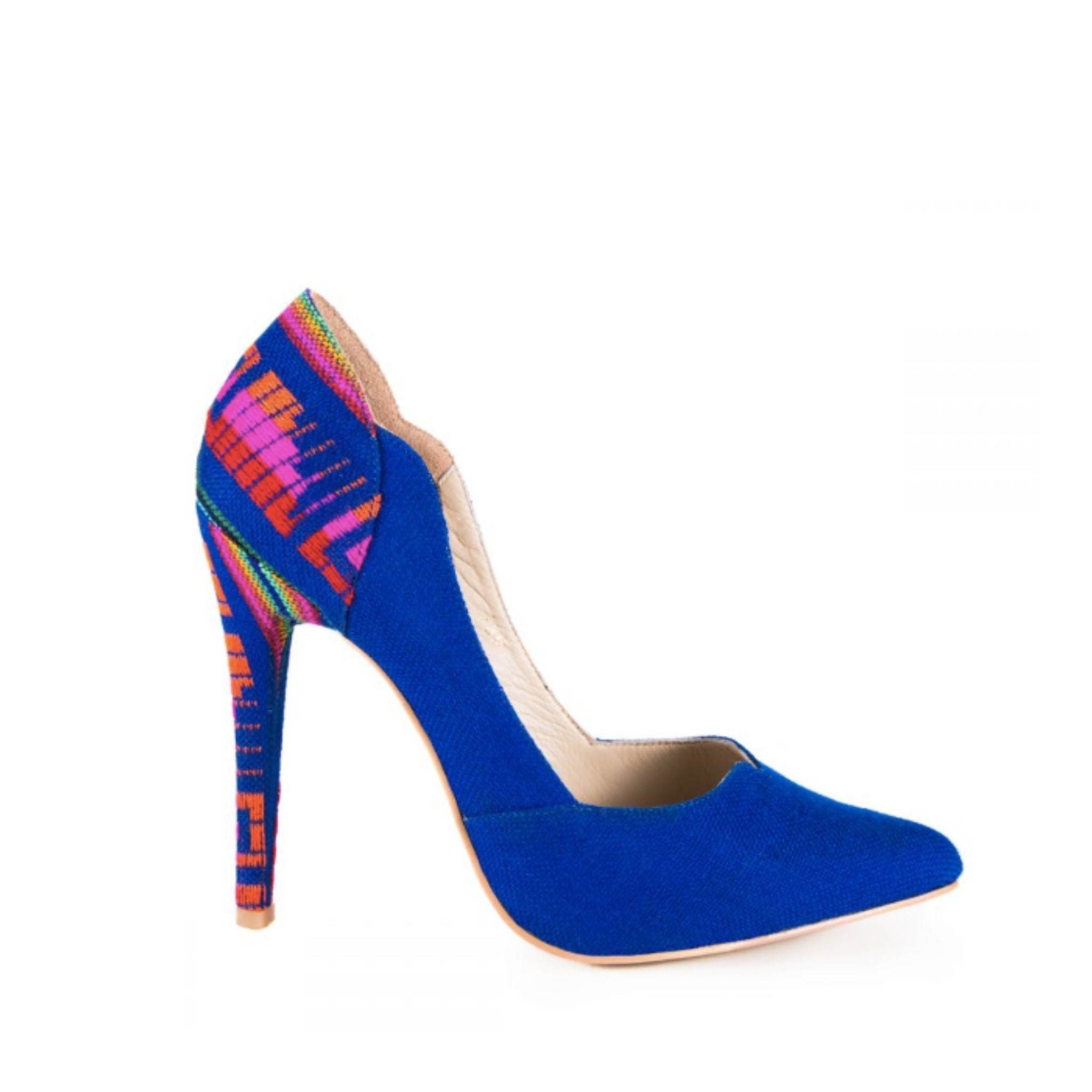 Mexican Embroidered Pumps Royal Blue 1