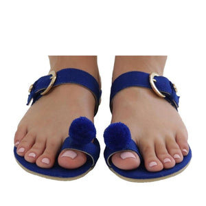 Mexican Toe Sandals Blue Embroidered 2