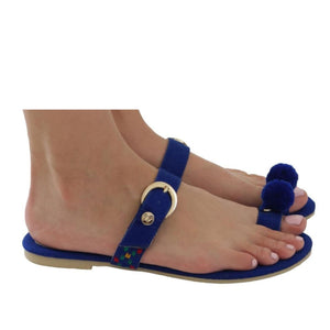 Mexican Toe Sandals Blue Embroidered 3