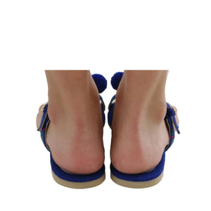 Mexican Toe Sandals Blue Embroidered 4
