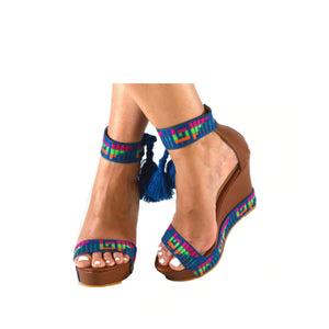 Mexican Wedges Brown with Blue Embroidered 8