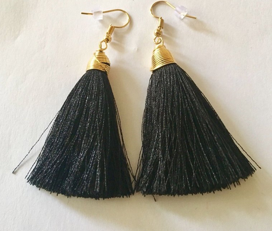 SILK Short Tassel Earrings