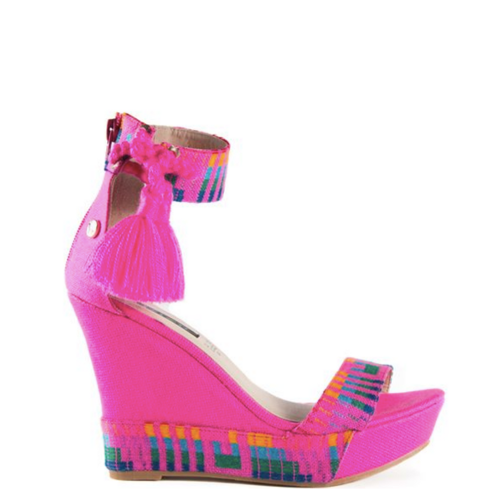 Mexican Wedges Pink Embroidered 1