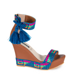Mexican Wedges Brown with Blue Embroidered