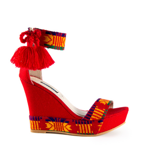 Mexican Wedges Red Embroidered