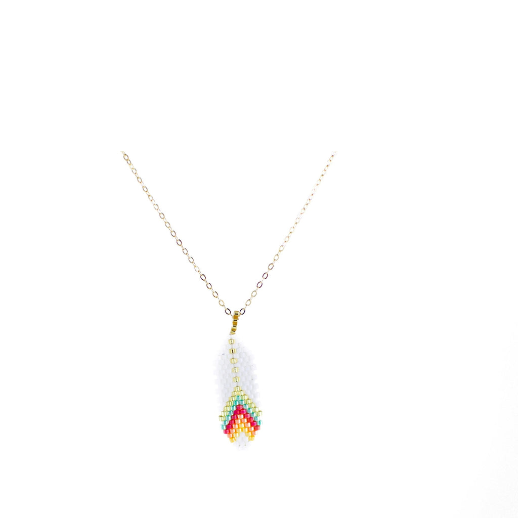 White Feather Necklace with Gold Plated Chain 1