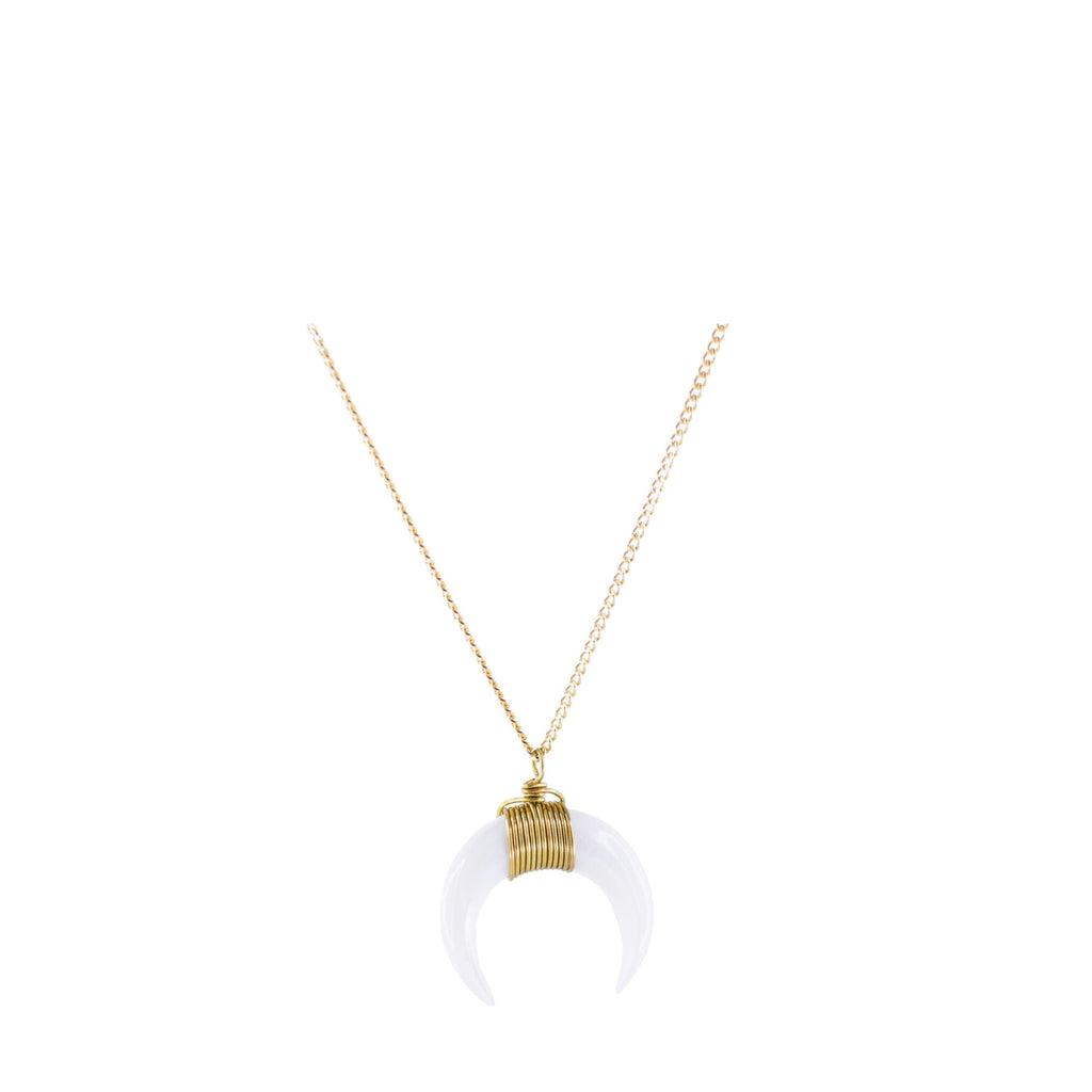 White Moon Necklace with Gold Plated Chain 1