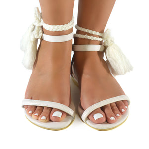 Mexican Sandals White Embroidered 1