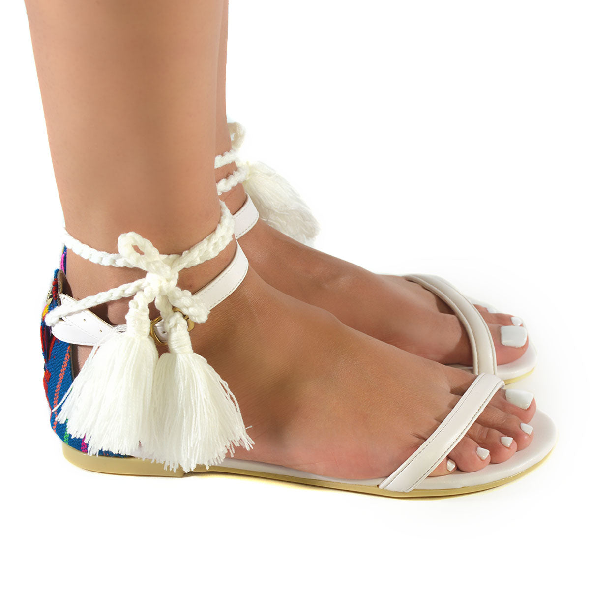 Mexican Sandals White Embroidered 2