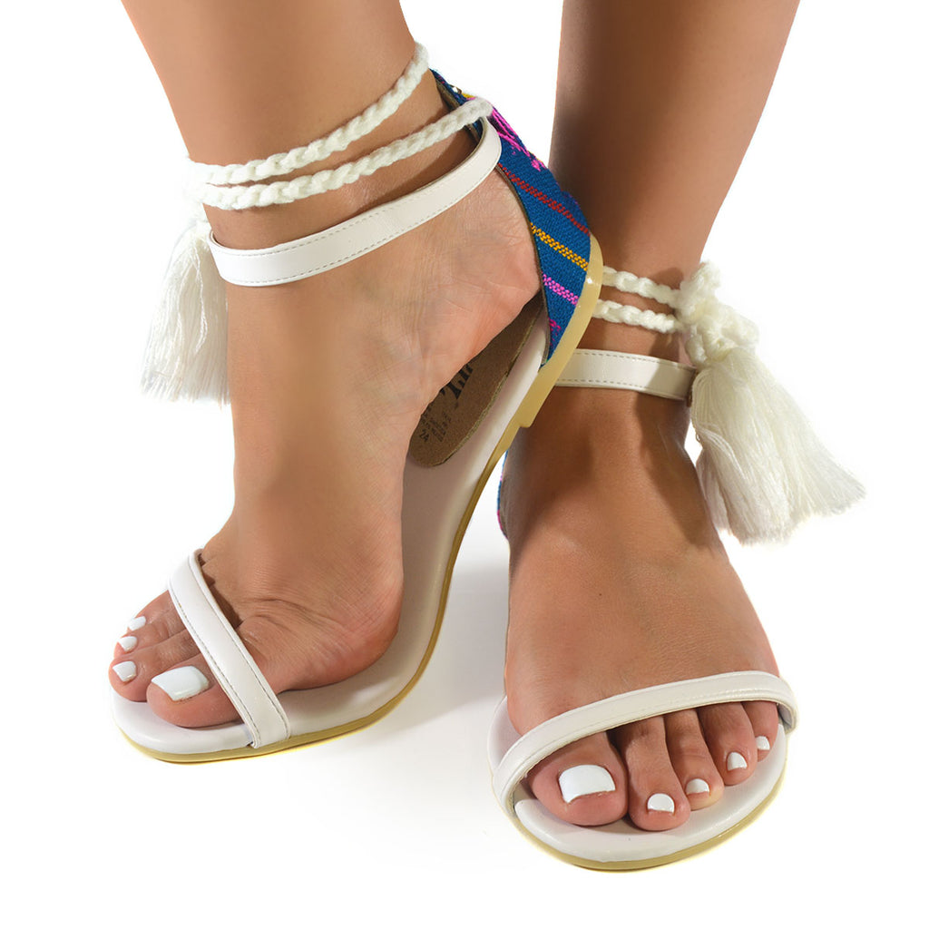 Mexican Sandals White Embroidered 4