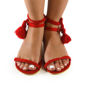Mexican Sandals Red Embroidered 1