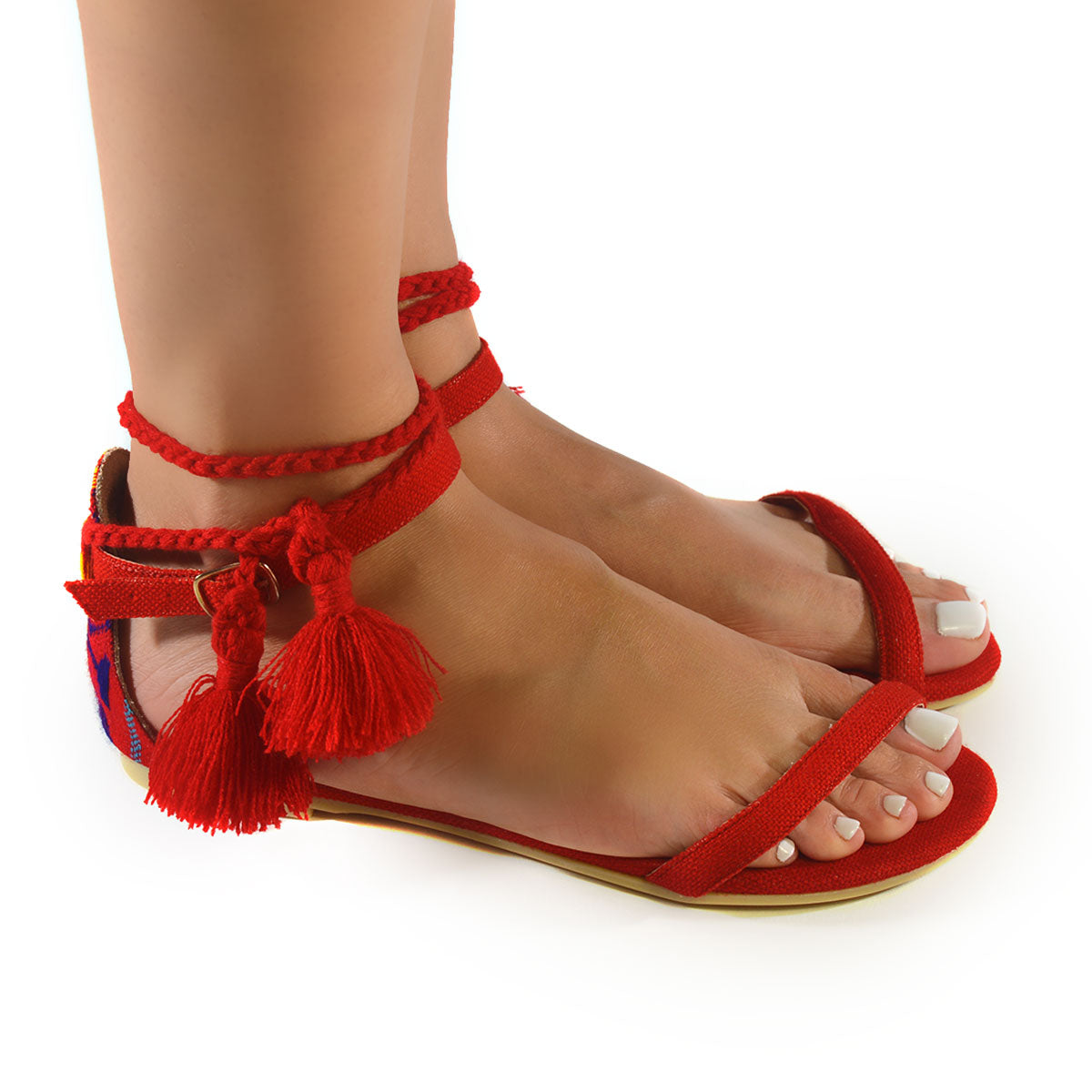 Mexican Sandals Red Embroidered 2