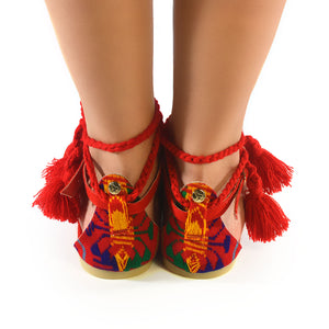 Mexican Sandals Red Embroidered 3