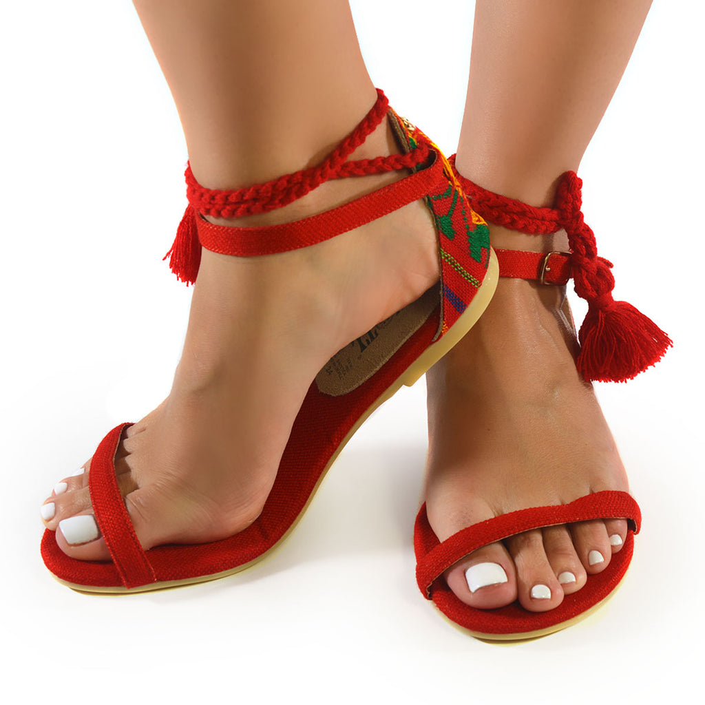 Mexican Sandals Red Embroidered 4