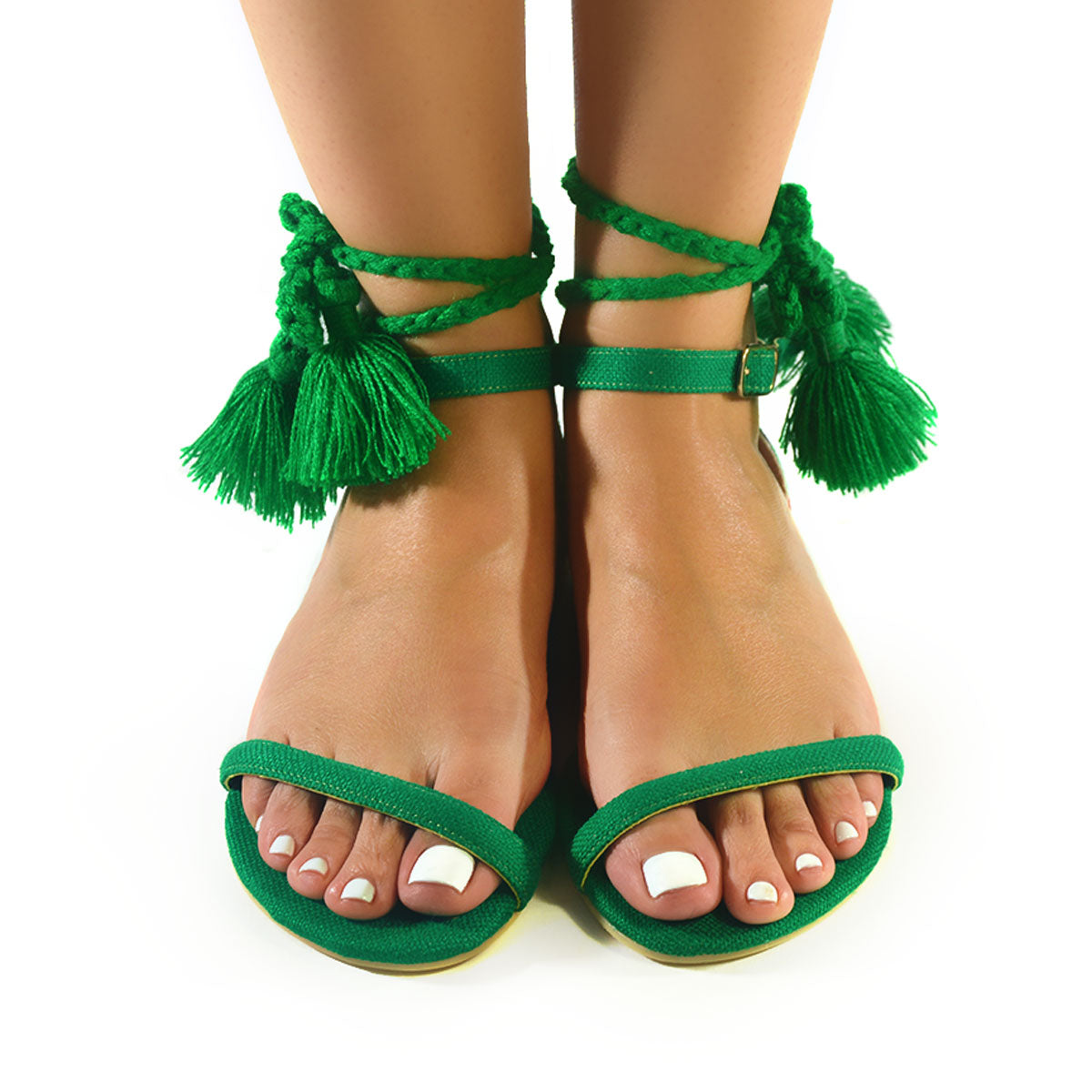 Mexican Sandals Green Embroidered 1