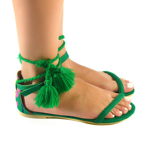 Mexican Sandals Green Embroidered 2