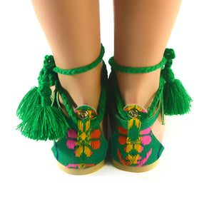 Mexican Sandals Green Embroidered 3