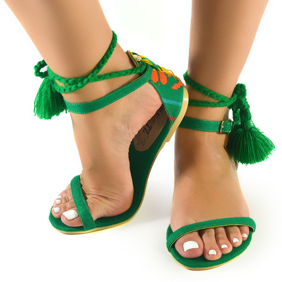 Mexican Sandals Green Embroidered 4