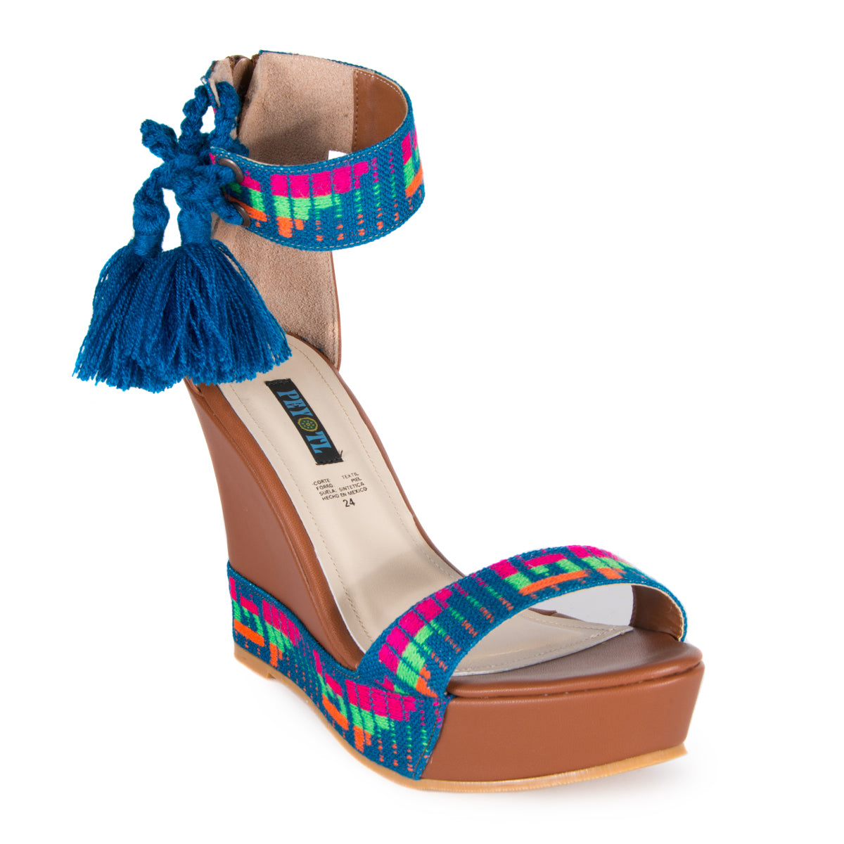 Mexican Wedges Brown with Blue Embroidered 2