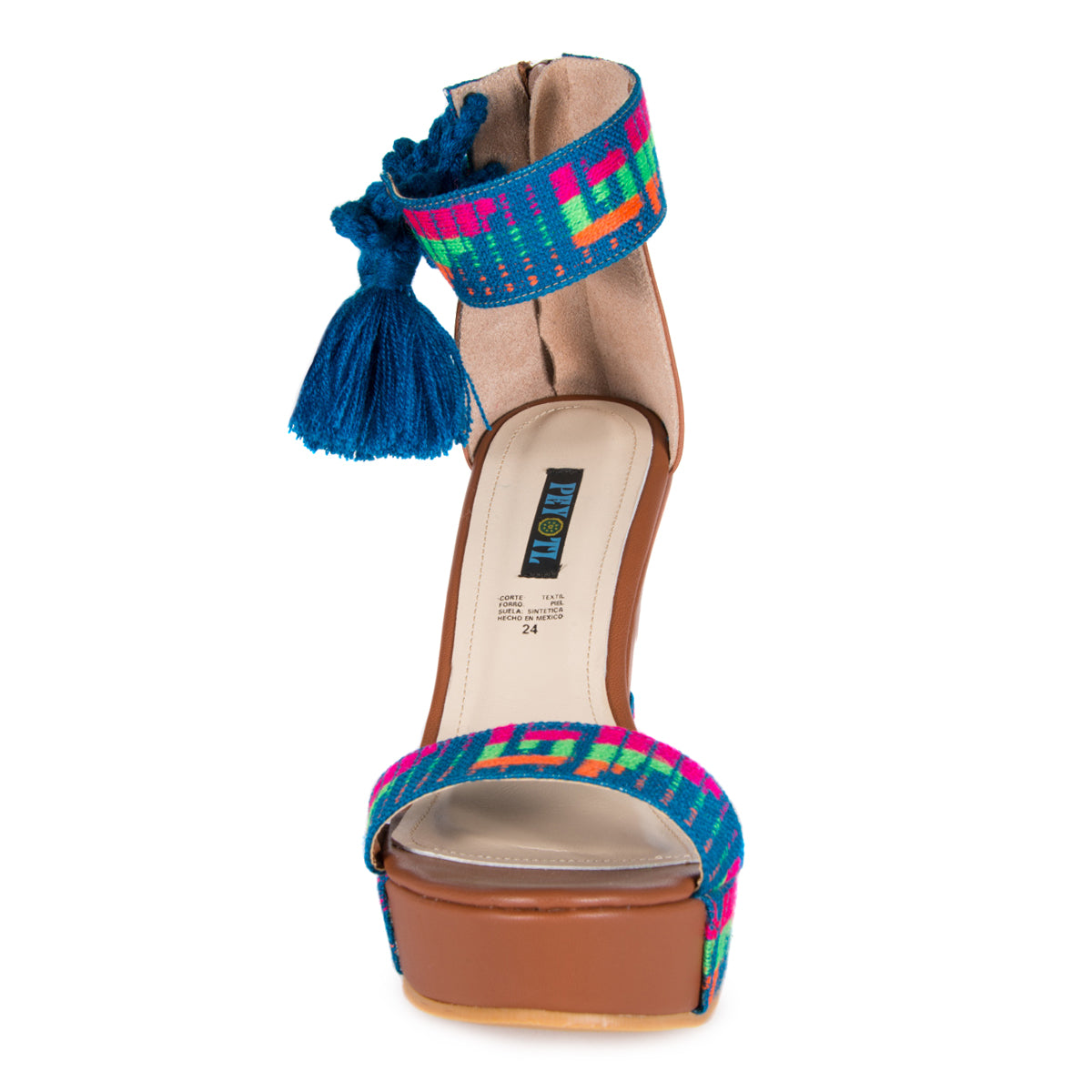 Mexican Wedges Brown with Blue Embroidered 3