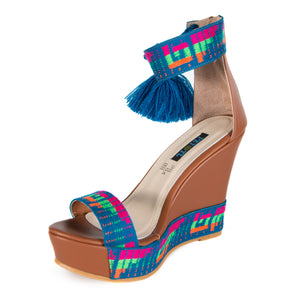 Mexican Wedges Brown with Blue Embroidered 4