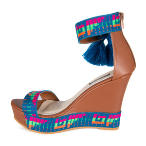 Mexican Wedges Brown with Blue Embroidered 5