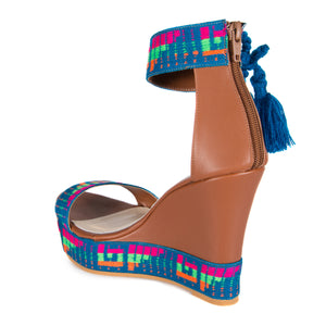 Mexican Wedges Brown with Blue Embroidered 6