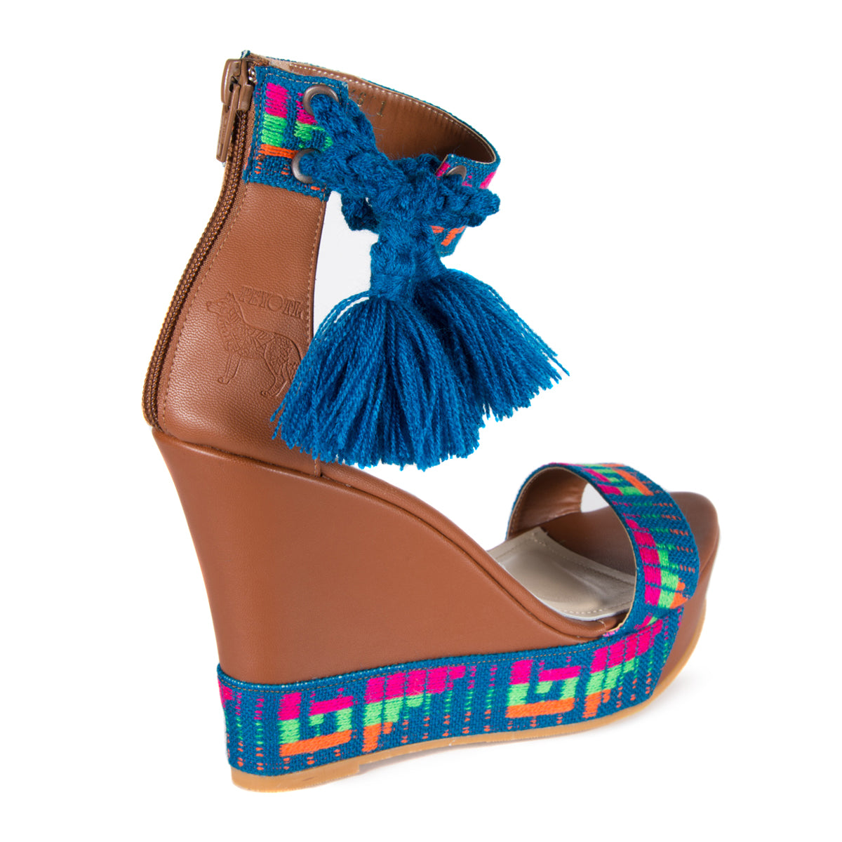 Mexican Wedges Brown with Blue Embroidered 7