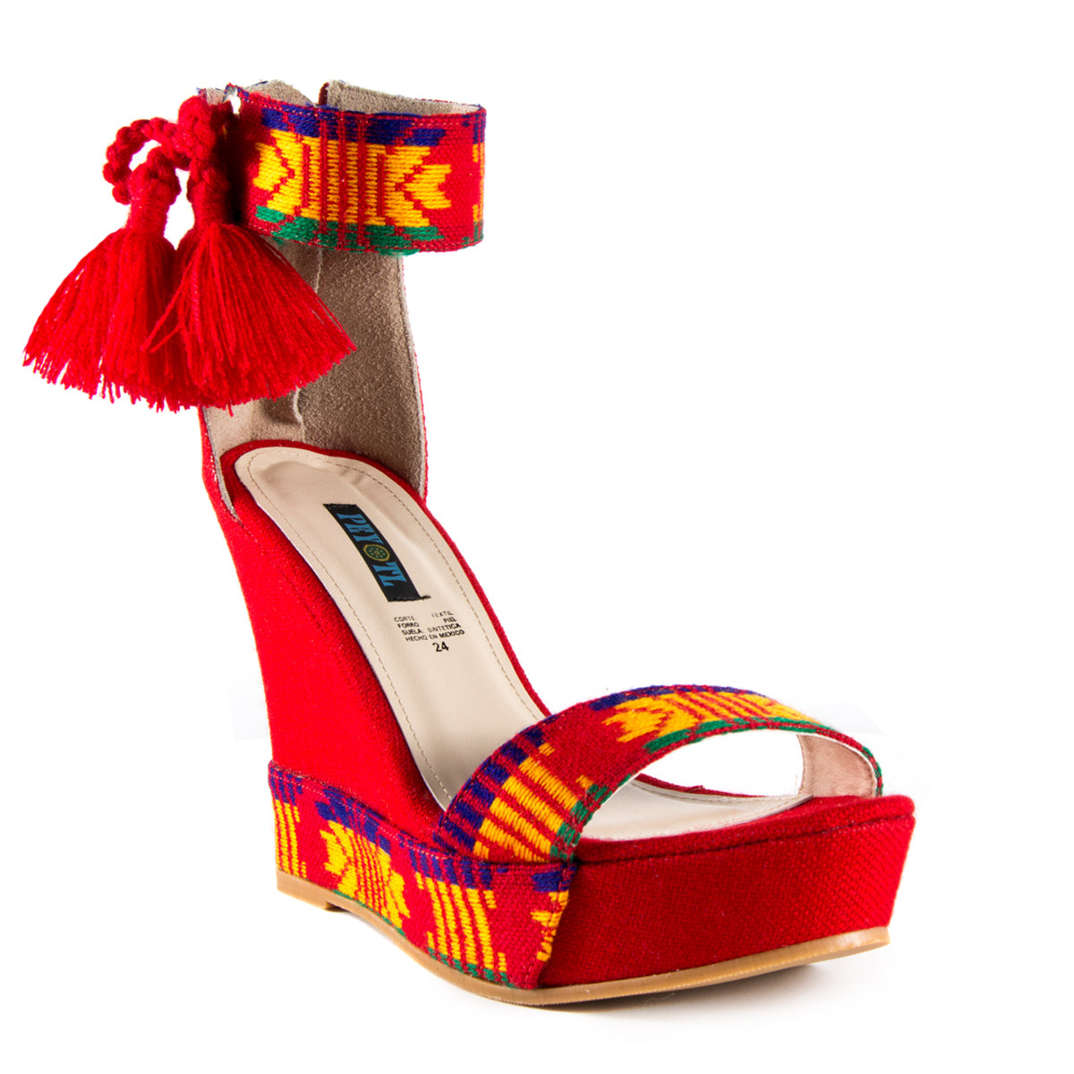 Mexican Wedges Red Embroidered 2