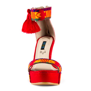 Mexican Wedges Red Embroidered 3