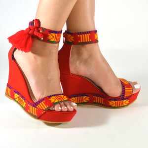 Mexican Wedges Red Embroidered 8
