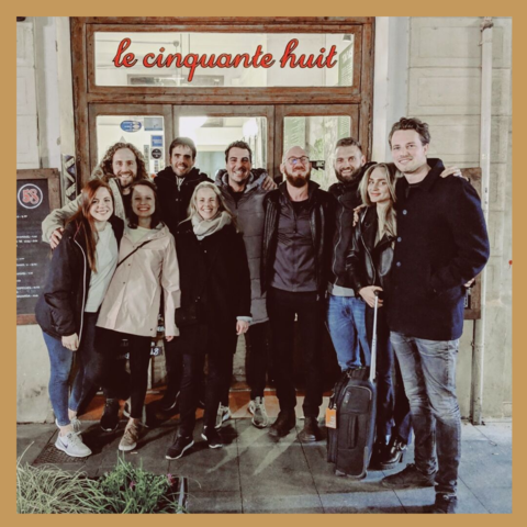 Entire Vertellis team outside restaurant in Barcelona on a team retreat