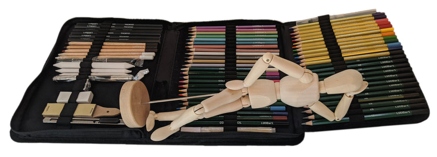 71-Piece Drawing Kit + Art Mannequin