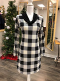 Ivory and Black Buffalo Plaid Dolman Sleeve Swing Dress